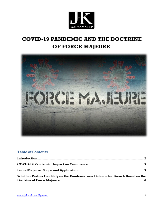 Cover of Covid-19 Pandemic and The Doctrine Of Force Majeure